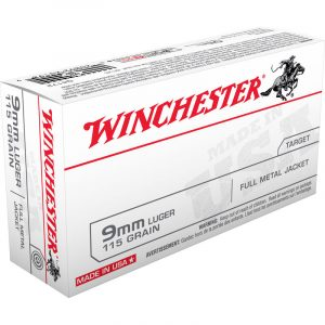 100 Rounds of Winchester USA 9mm Luger Ammunition FMJ 115 Grain 1190 fps
