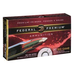 Federal Premium Vital-Shok, .30-06 Springfield, Nosler AccuBond Polymer Tipped, 180 Grain, 20 rounds
