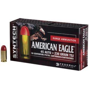 Federal American Eagle Syntech, .45 ACP, 230 Grains, TSJ, 50 Rounds