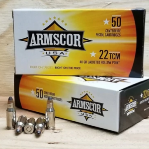 Armscor 22 TCM Ammunition 40 Grain Jacketed Hollow Point CASE 1000 rounds